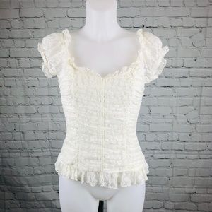 Sexy Ivory Lace Pullover Grass Collection Top (M)